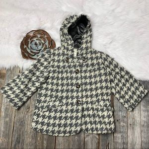 Anthropologie Coat XS Elevenses Houndstooth Hoodie